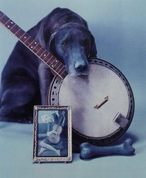 William Wegman (photographer) - Blue Period with Banjo, Polaroid ER print by William Wegman, 1980
