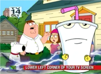 "Adult Swim - The heavily promoted April 1, 2007 airing of Aqua Teen Hunger Force Colon Movie Film for Theaters on Adult Swim muted and featured in a small picture-in-picture screen in the bottom left hand corner during a simultaneous airing of the Family Guy episode ""Peter's Two Dads"", while an obnoxiously large and noisy on-screen graphic promotes the movie's airing."