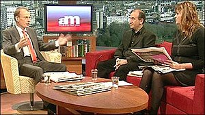 The Andrew Marr Show - Marr reviewing the papers with Armando Iannucci and Janine di Giovanni in December 2009