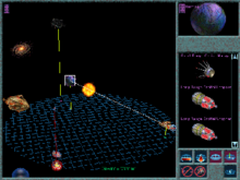 An image of a solar system with several ships piloted by different species. A planet owned by the Capelons is about to fire on an enemy ship.