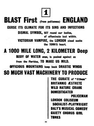 Blast (magazine) - The first section of Wyndham Lewis' Manifesto, Blast 1, 1914