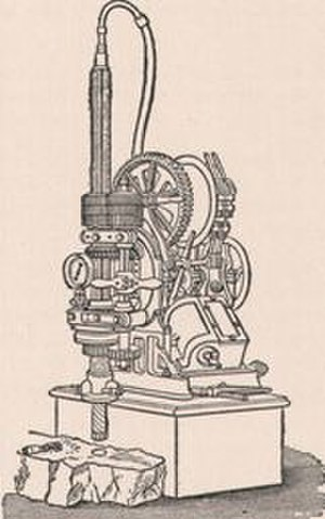 Boring (earth) - A boring machine illustration from the 1911 Encyclopædia Britannica.