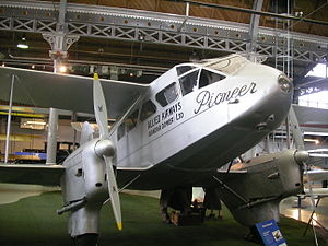 De Havilland Dragon Rapide - G-ADAH, built in 1935, and used by Hillmans Airways and Allied Airways until 1947. On display at the Museum of Science and Industry, Manchester, UK.