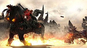 Darksiders - War using a pistol while riding his steed, Ruin.