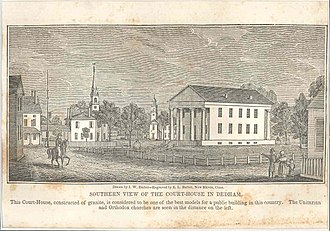 History of Dedham, Massachusetts, 1793–1999 - The south face of the courthouse in Dedham Square, as it appeared in 1839.