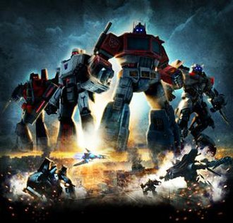 Transformers: Revenge of the Fallen (video game) - Promotional poster for downloadable content, which features Generation 1 and film characters
