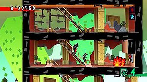 Exit (video game) - Mr. ESC (the figure with the red tie) carries an injured person down stairs while another adult waits nearby in a collapsing building. Image from the Xbox Live Arcade version.