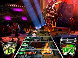 Guitar Hero (video game) - To play a note, the fret button and strum bar must be pressed when the solid note scrolls through the corresponding ring at the bottom. The interface shows the player's score and score multiplier (left), Star Power meter (right), and Rock Meter (bottom right).