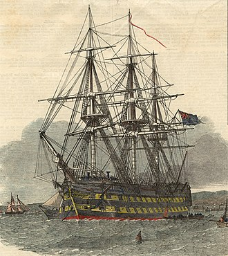 Highland and Island Emigration Society - Image: HMS Hercules leaving the harbour of Campbeltown
