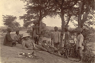 A Shikar party in Mandalay, Burma, soon after the conclusion of the Third Anglo-Burmese War in 1886, when Burma was annexed to British India Hunting party mandalay1885.jpg
