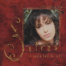 "A cover art of an American singer Selena cropped into a frame inside the cover art of her single ""I Could Fall in Love"". The outer cover contains red roses."