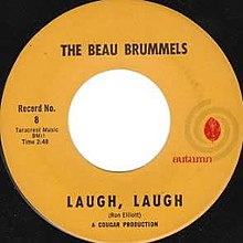 "A 7"" vinyl record single with a light orange label surrounding a large center hole. The band name and song title are written in black above and below the hole, respectively. The record number and song length are listed on the left, and the Autumn Records logo is illustrated on the right."