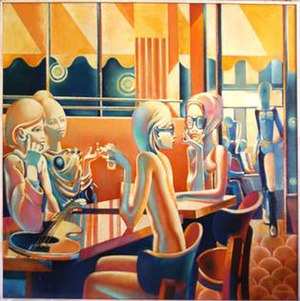 Café de Flore - Philippe Derome, Le Flore, oil on canvas, 1974