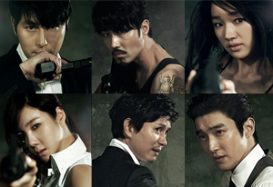 Athena: Goddess of War - The main cast of Athena, clockwise from top left: Jung Woo-sung, Cha Seung-won, Soo Ae, Choi Si-won, Kim Min-jong, and Lee Ji-ah. Unlike with its predecessor, the actors were cast with Korean viewers in mind instead of catering to audiences abroad.