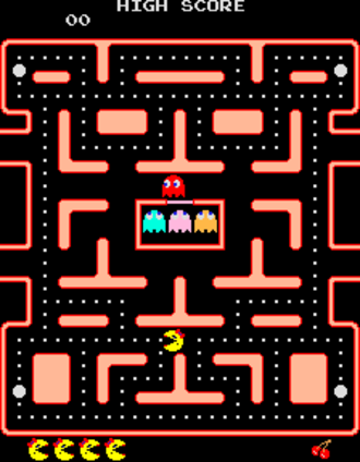 Ms. Pac-Man - Screenshot of the game's first round.