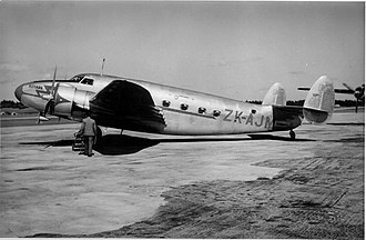 "New Zealand National Airways Corporation - A former World War II RNZAF transport, Lockheed Lodestar ZK-AJM, was inherited from Union Airways in 1947 and named ""Kotare"" - it was sold to the US in 1952."
