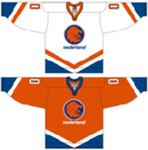 Netherlands men's national ice hockey team - Image: Netherlands national ice hockey team Home & Away Jerseys