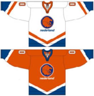 Netherlands men's national ice hockey team - Image: Netherlands national ice hockey team Home & Away Jerseys