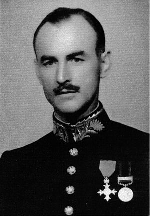 Norval Mitchell - Alfred Norval Mitchell in dress uniform with OBE and India General Service medal 1908-1935, 1943
