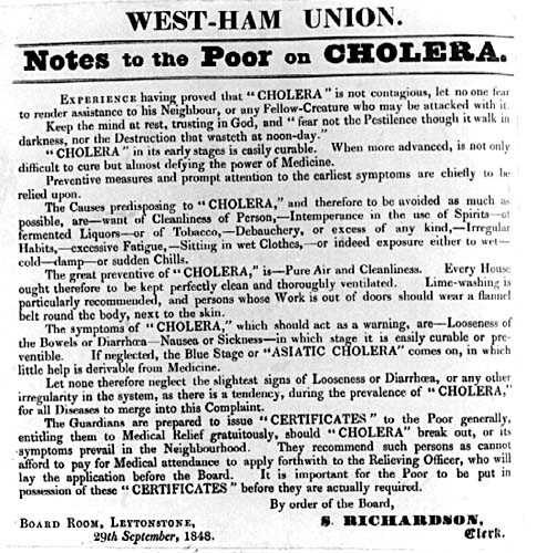 Note to the Poor on Cholera 1848 West Ham