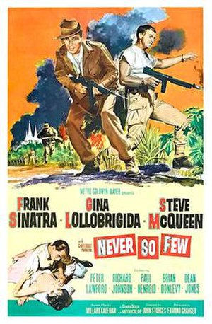 Never So Few - Theatrical poster from the 1967 re-release of the film.