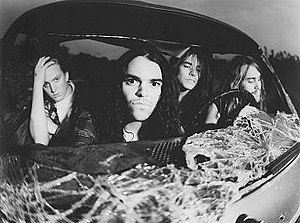 Stoner rock - Kyuss: Left to right, Josh Homme, Brant Bjork, John Garcia, Nick Oliveri