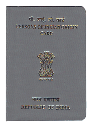 Indian nationality law - Front cover of a PIO card