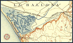 La Ballona map of 1896, present day location of Playa del Rey, Marina del Rey, and the Ballona Wetlands.