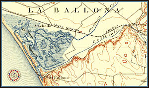 Port Ballona - La Ballona map of 1896,  present day location of Playa del Rey, Marina del Rey, and the Ballona Wetlands.
