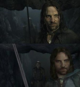 The Lord of the Rings: The Return of the King (video game) - Above: a scene from The Return of the King film. Below: the same scene in the video game.
