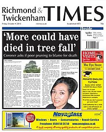 Richmond and Twickenham Times front page October 4 2013.jpg