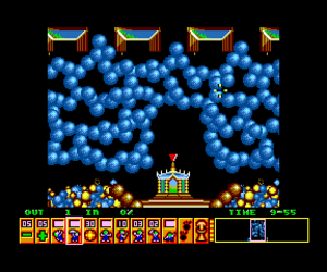 Lemmings (video game) - Screenshot of Oh No! More Lemmings for the SAM Coupé home computer.