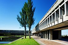 The exterior of a grey building, with a grassy garden area outside