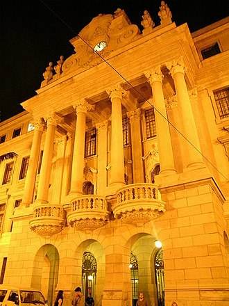 Law School, University of São Paulo - Night view of the building's façade.