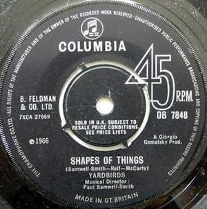"Shapes of Things - 1966 UK single label listing ""Musical Director: Paul Samwell-Smith"""