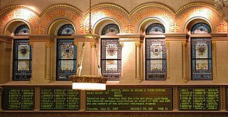 New York State Assembly - Stained Glass Windows in the NYS Assembly Chamber.
