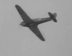 Train Busters - A Canadian-based Hawker Hurricane Mk XII is filmed; note the lack of a spinner that characterized the Hurricane fighters in Canada, while the mix of sequences purports to show a European sortie.