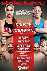 A poster or logo for Strikeforce: Rousey vs. Kaufman.