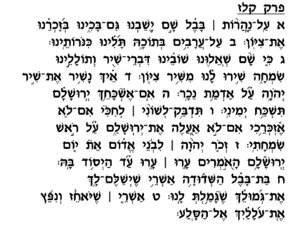 Tehilim 137 with nikkud.
