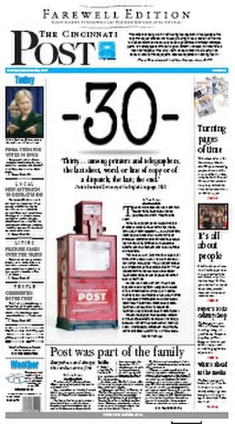 The Cincinnati Post - Image: The Cincinnati Post, Farewell Edition