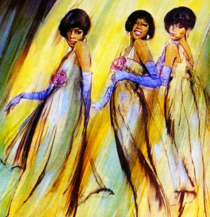 "Greatest Hits (The Supremes album) - Cover artwork of The Supremes by Robert Taylor which is featured on the ""Greatest Hits"" American release."