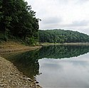 Thumbnail image of the rocky shoreline at Tygart Lake State Park