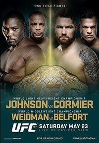 A poster or logo for UFC 187: Johnson vs. Cormier.