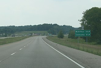 U.S. Route 50 in Ohio - A view of U.S. 50 (traveling west) near Albany, Ohio as it is about to leave the concurrency with SR 32