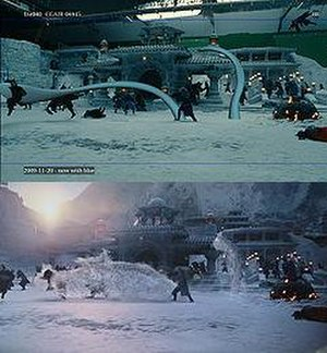The Last Airbender - Upper: Water being animated.  Lower: Final version of animated scene.