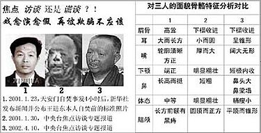 "Three pictures broadcast by state-media, presented by Falun Gong as evidence that Wang Jindong ""was played by different people"". Wjd3photos.jpg"
