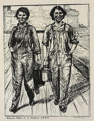 Archibald Standish Hartrick - Woman's Work:On the Railway - Engine and Carriage Cleaners (c. 1917) (Art.IWM ART 161764)
