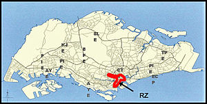 Singapore Area Licensing Scheme -  Location of the ALS Restricted Zone (RZ), Singapore.