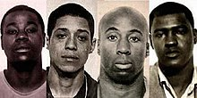 """Zebra Killers"" mugshots, 1974 - l to r, Manuel Moore, Larry Green, Jessie Lee Cooks, JCX Simon.jpg"