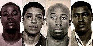 "Zebra murders - Convicted ""Zebra murderers"" at the time of their arrest in 1974: Manuel Moore, Larry Green, Jessie Lee Cooks, and J.C.X. Simon"